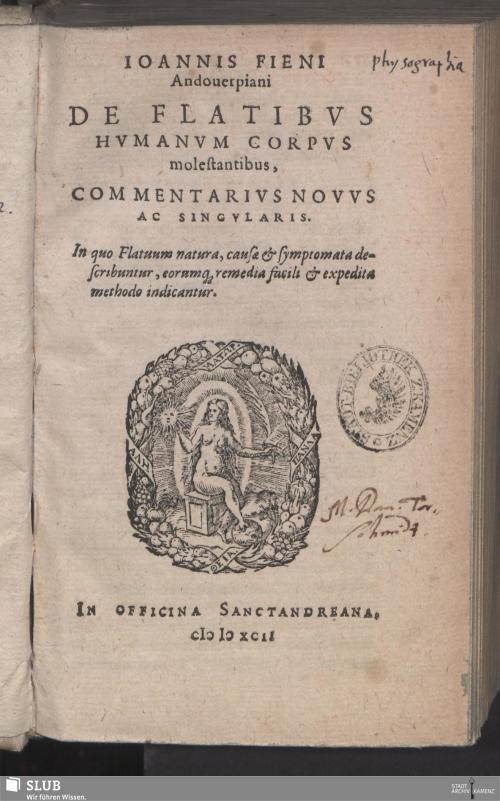 Vorschaubild von Ioannis Fieni Andouerpiani De Flatibvs Hvmanvm Corpvs molestantibus