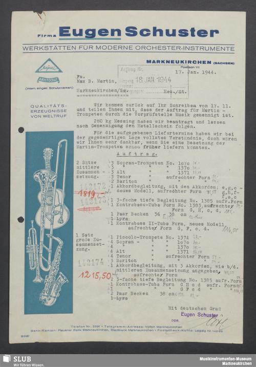Vorschaubild von Firma Eugen Schuster, Werkstätten für moderne Orchester-Instrumente, Markneukirchen (Sachsen)