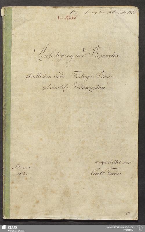 Vorschaubild von Anfertigung und Reparatur des säm̄tlichen in der Freiberger Revier gebräuchl: Häuergezähes - 18.6983 4.