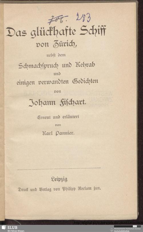 Vorschaubild von Das glückhafte Schiff von Zürich, nebst dem Schmachspruch und Kehrab und einigen verwandten Gedichten