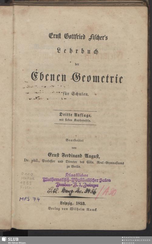 Vorschaubild von Ernst Gottfried Fischer´s Lehrbuch der Ebenen Geometrie für Schulen
