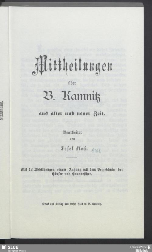 Vorschaubild von Mittheilungen über B. Kamnitz aus alter und neuer Zeit