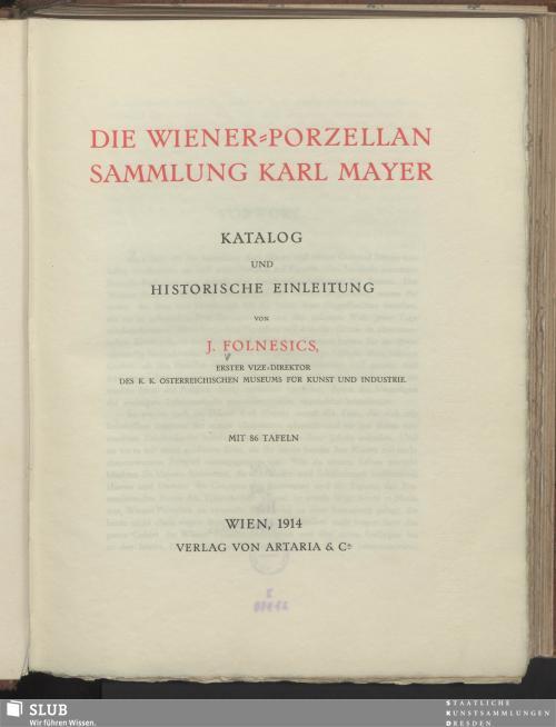 Vorschaubild von Die Wiener-Porzellan Sammlung Karl Mayer