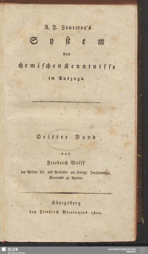 Vorschaubild von [A. F. Fourcroy's System der chemischen Kenntnisse im Auszuge]