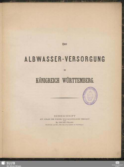 Vorschaubild von Die Albwasser-Versorgung im Königreich Württemberg