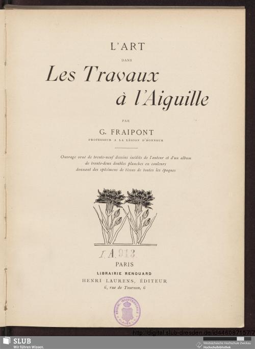 Vorschaubild von L 'Art Dans Les Travaux à l'Aiguille