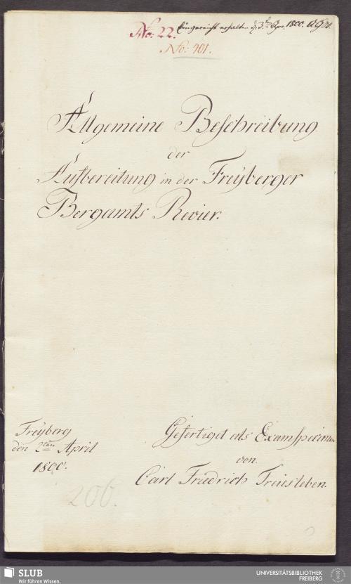 Vorschaubild von Allgemeine Beschreibung der Aufbereitung in der Freyberger Bergamts Revier - 17.6309 4.