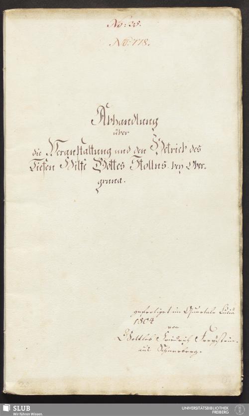 Vorschaubild von Abhandlung über die Veranstaltung und den Betrieb des Tiefen Hilfe Gottes Stollns bey Obergruna - 17.6686 4.