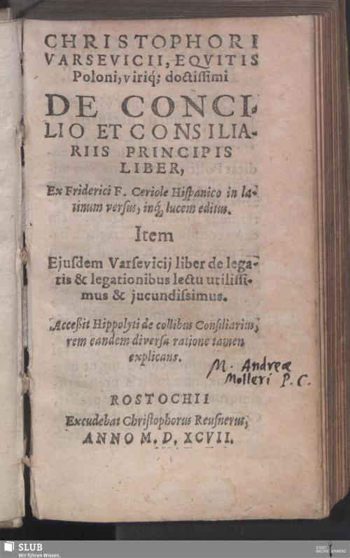Vorschaubild von Christophori Varsevicii, Eqvitis Poloni, viriq[ue] doctissimi De Concilio Et Consiliariis Principis Liber