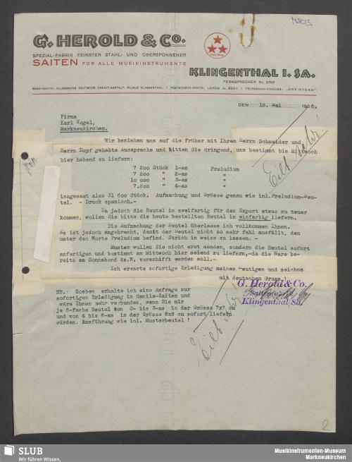 Vorschaubild von G. Herold & Co., Klingenthal i. Sa., Spezial-Fabrik feinster Stahl- und übersponnener Saiten für alle Musikinstrumente