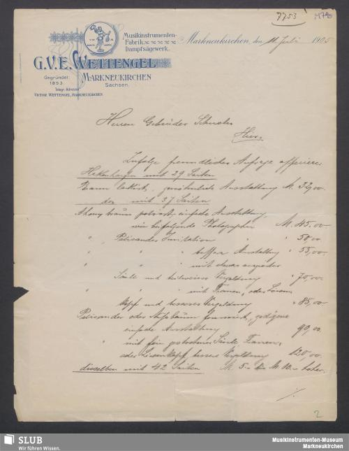 Vorschaubild von G. V. E. Wettengel, Markneukirchen Sachsen, Musikinstrumenten-Fabrik, Dampfsägewerk