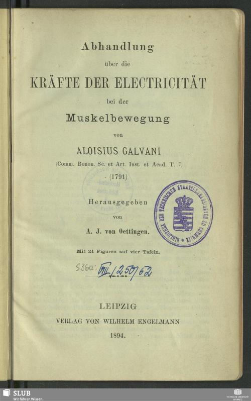 Vorschaubild von Abhandlung über die Kräfte der Electricität bei der Muskelbewegung