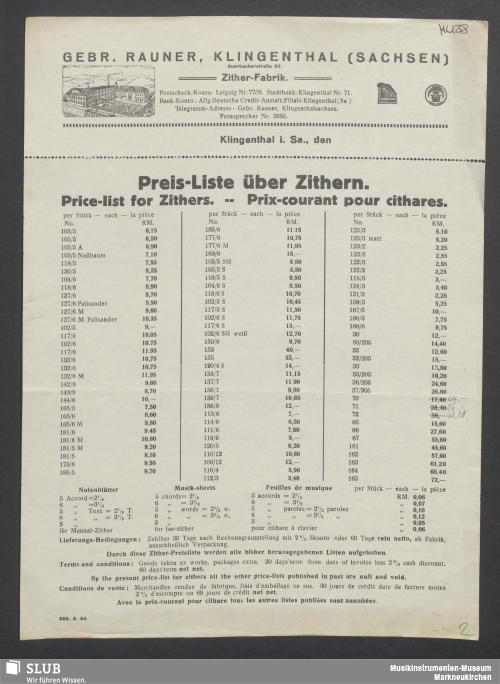 Vorschaubild von Gebr. Rauner, Klingenthal (Sachsen), Zither-Fabrik