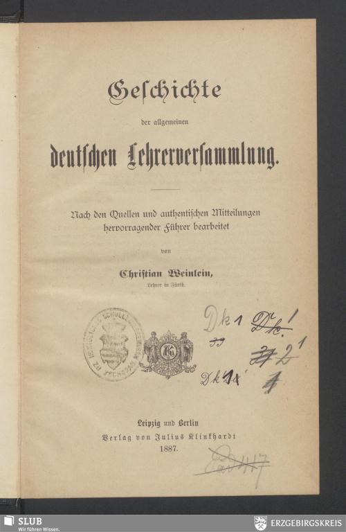 Vorschaubild von Geschichte der allgemeinen deutschen Lehrerversammlung