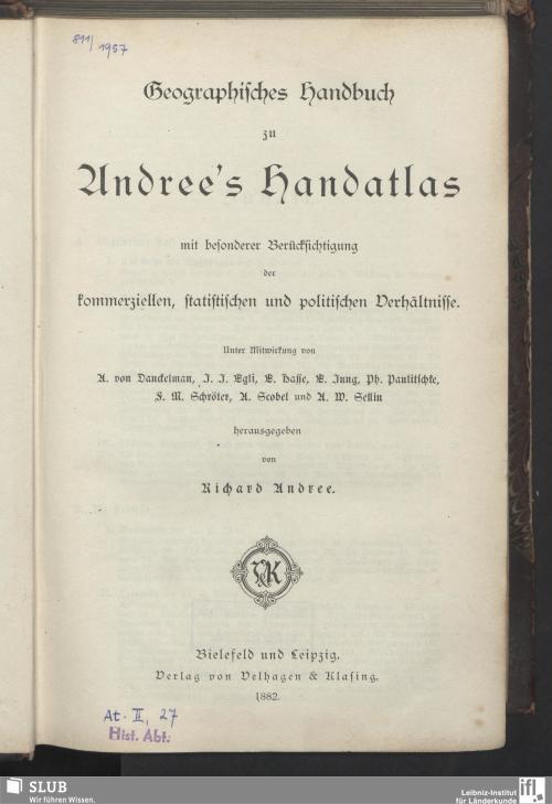 Vorschaubild von Geographisches Handbuch zu Andree's Handatlas
