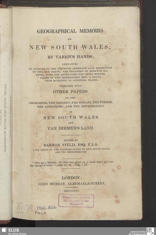 Vorschaubild von Geographical memoirs on New South Wales