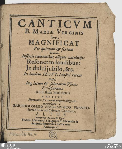 Vorschaubild von Canticum B. Mariae Virginis sive Magnificat per quintum & sextum tonum ...