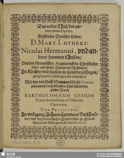 Vorschaubild von Das ander Theil des andern newen Operis Geistlicher Deutscher Lieder