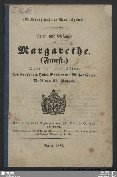 Vorschaubild von Arien und Gesänge aus: Margarethe (Faust)