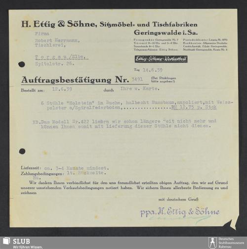 Vorschaubild von H. Ettig & Söhne, Sitzmöbel- und Tischfabriken Geringswalde i.Sa.