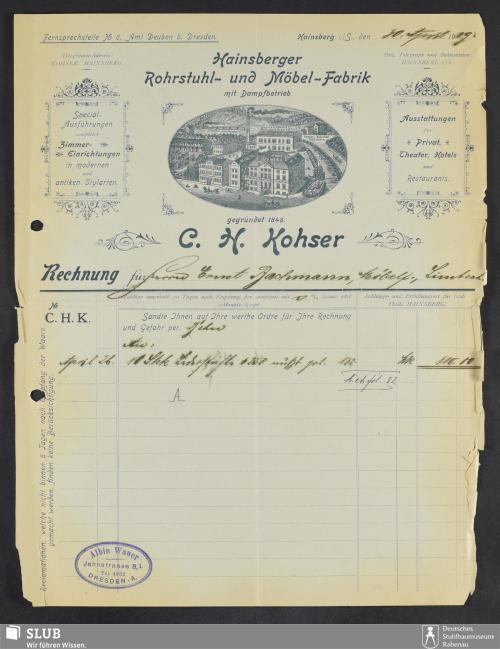 Vorschaubild von Hainsberger Rohrstuhl- und Möbel-Fabrik, mit Dampfbetrieb, C.H. Kohser, Hainsberg i.S.