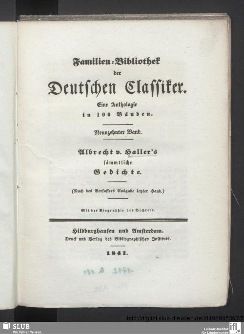 Vorschaubild von Albrecht v. Haller's sämmtliche Gedichte