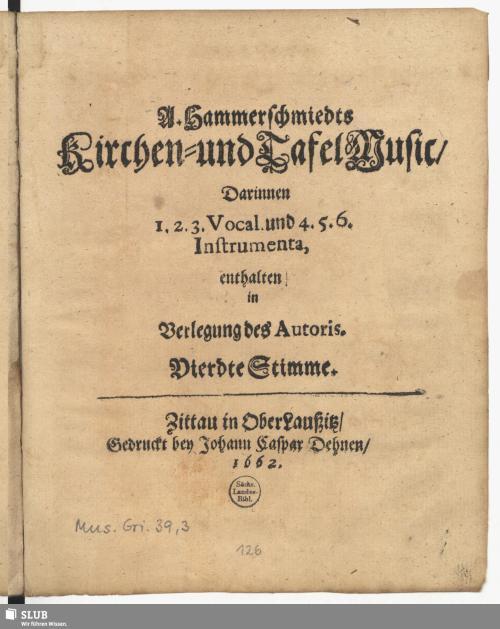 Vorschaubild von A. Hammerschmiedts Kirchen- und Tafel Music