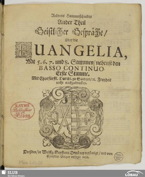 Vorschaubild von Andreas Hammerschmidts Ander Theil Geistlicher Gespräche/ über die Evangelia