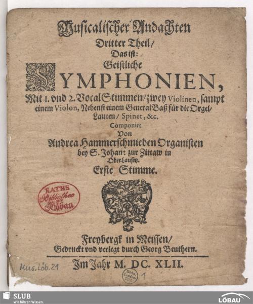 Vorschaubild von Musicalischer Andachten Dritter Theil/ Das ist: Geistliche Symphonien