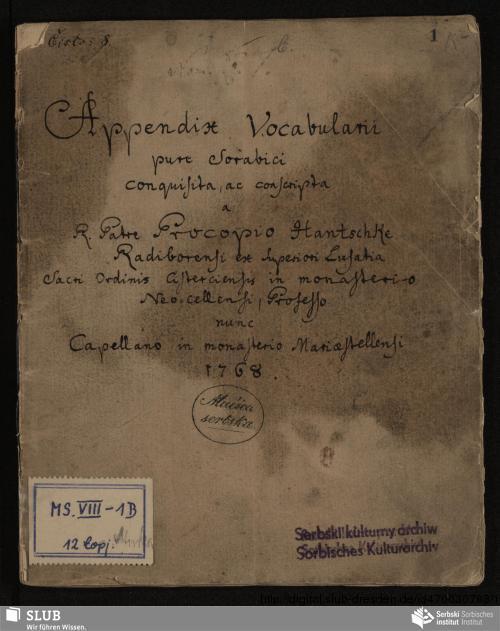 Vorschaubild von Appendix Vocabularii pure Sorabici