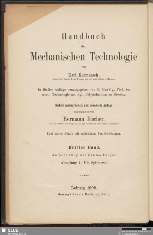 Vorschaubild von Handbuch der Spinnerei