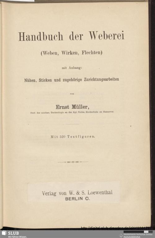 Vorschaubild von Handbuch der Weberei