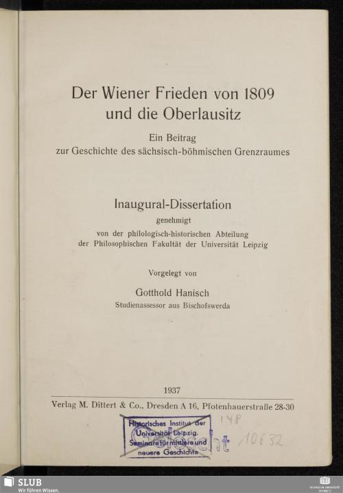 Vorschaubild von Der Wiener Frieden von 1809 und die Oberlausitz