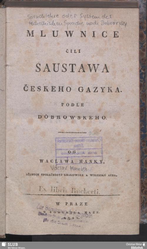 Vorschaubild von Mluwnice čili saustawa českeho gazyka podlé Dobrowskeho