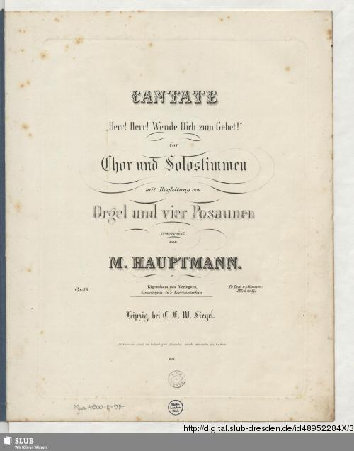 """Vorschaubild von Cantate """"Herr! Herr! Wende Dich zum Gebet!"""" für Chor und Solostimmen mit Begleitung von Orgel und vier Posaunen"""