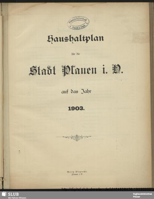 Vorschaubild von [Haushaltsplan der Kreisstadt Plauen]