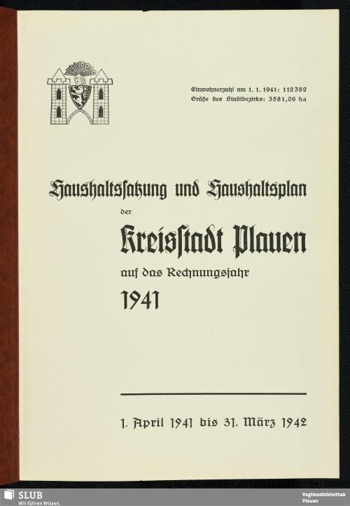 Vorschaubild von [Haushaltssatzung und Haushaltsplan der Kreisstadt Plauen]