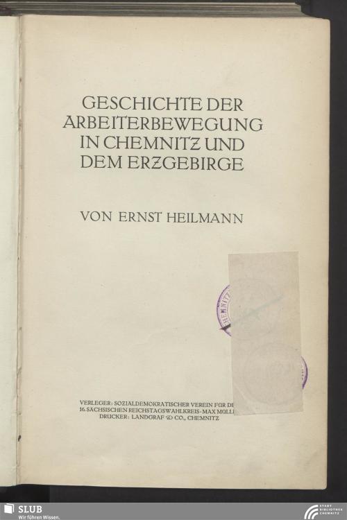 Vorschaubild von Geschichte der Arbeiterbewegung in Chemnitz und dem Erzgebirge