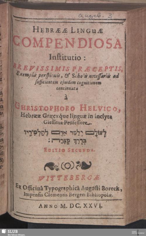 Vorschaubild von Hebraeae Linguae Compendiosa Institutio
