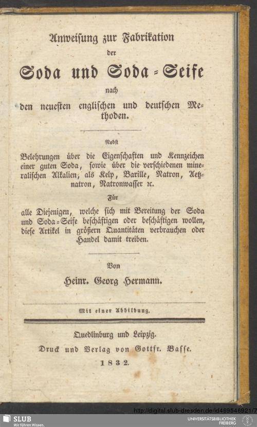 Vorschaubild von Anweisung zur Fabrikation der Soda und Soda-Seife nach den neuesten englischen und deutschen Methoden