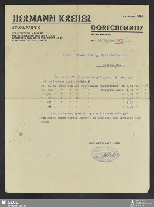 Vorschaubild von Hermann Kreher, Stuhlfabrik, Dorfchemnitz (Bezirk Dresden)