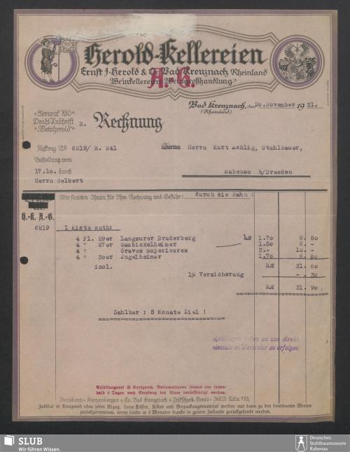 Vorschaubild von Herold-Kellereien, Ernst J. Herold & Co., Bad Kreuznach Rehinland, Weinkellereien und Weingroßhandlung