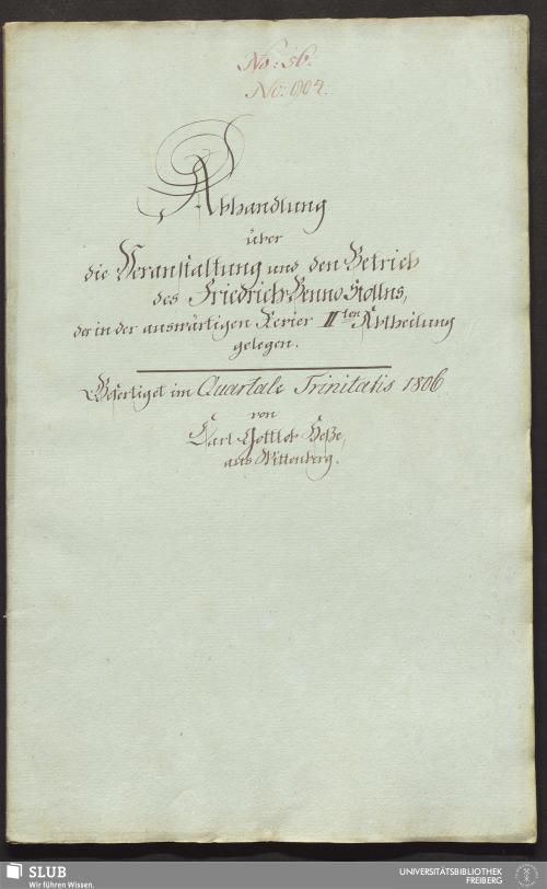 Vorschaubild von Abhandlung über die Veranstaltung und den Betrieb des Friedrich Benno Stollns - 17.6812 4.