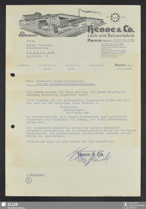 Vorschaubild von Hesse & Co., Lack- und Beizenfabrik Hamm (Westf.)