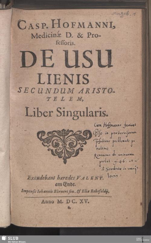 Vorschaubild von Casp. Hofmanni, Medicinae D. & Professoris. De Usu Lienis Secundum Aristotelem