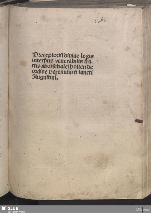 Vorschaubild von Preceptoriu[m] diuine legis interp[re]tis venerabilis fratris Gotschalci hollen de ordine heremitaru[m] sancti Augustini