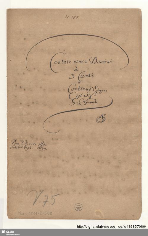 Vorschaubild von Cantate nomen Domini jubilate laudate eum - Mus.1811-D-500