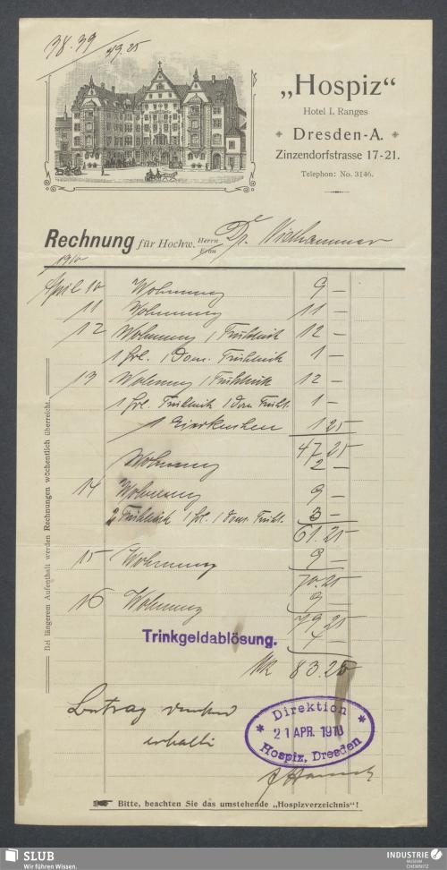 """Vorschaubild von """"Hospiz"""", Hotel, Dresden-A."""