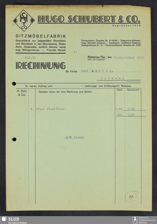Vorschaubild von Hugo Schubert & Co., Sitzmöbelfabrik, Rabenau/Sa.