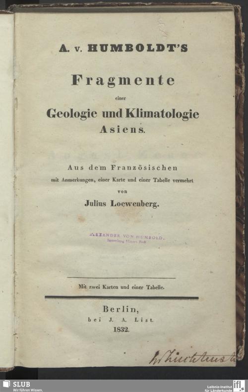 Vorschaubild von A. v. Humboldt's Fragmente einer Geologie und Klimatologie Asiens